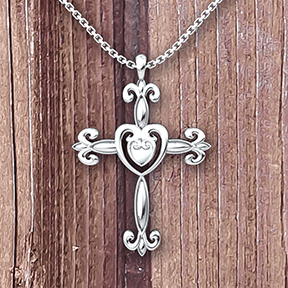 Logos Jewelry - Heart Cross, Sterling Silver Necklace - Logos Trading Post, Christian Gift