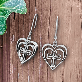 Logos Jewelry - Radiant Heart with Cross, Sterling Silver Earrings - Logos Trading Post, Christian Gift