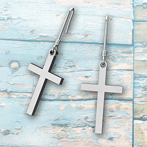 Logos Jewelry - Simple Cross, Sterling Silver Earrings - Logos Trading Post, Christian Gift