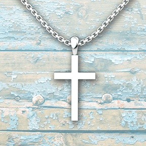 Simple Cross Sterling Silver Necklace with 18 inch chain on a blue rustic wooden background