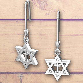 Logos Jewelry - Star of David with Cross, Sterling Silver Earrings - Logos Trading Post, Christian Gift