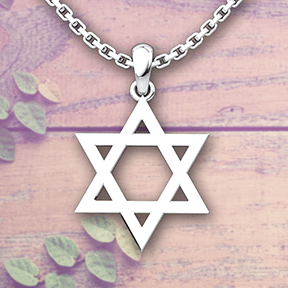 Star of David Sterling Silver Pendant with a 18 inch chain on wooden and leafy background