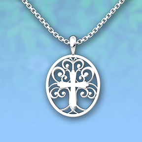 Tree of Life Sterling Silver Necklace with 18 inch with blue glitter background