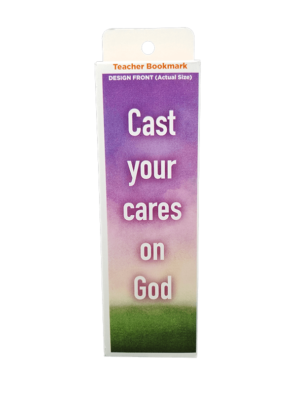 Children's Christian Bookmark, Cast Your Cares on God, 1 Peter 5:7 - Pack of 25 - Logos Trading Post, Christian Gift