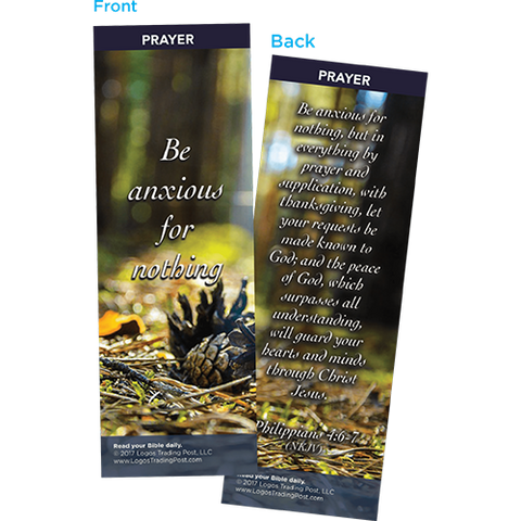 Be Anxious For Nothing Bookmarks, Pack of 25- Christian Bookmarks