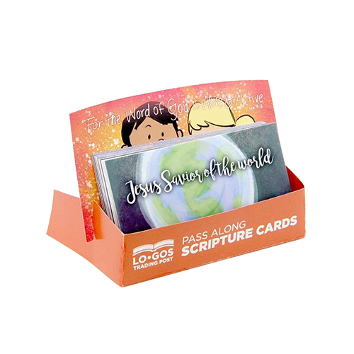 Children's Pass Along Scripture Cards - Jesus, Savior of the World, Pack of 25 - With Stand