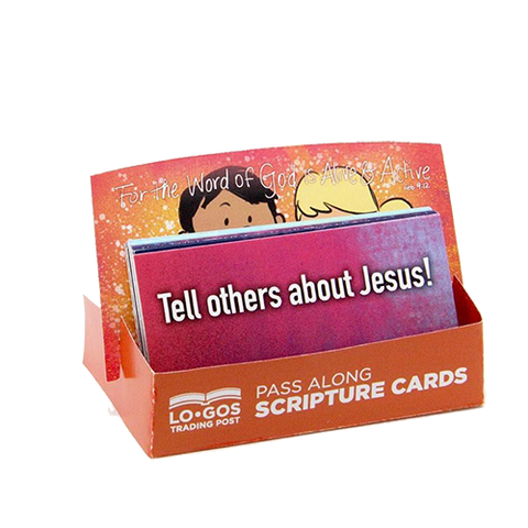 Children's Pass Along Scripture Cards - Tell Others About Jesus, Pack of 25 - With Stand