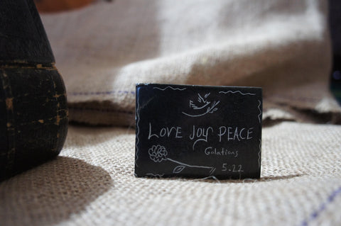 LOVE JOY PEACE- Carved Serpentine Stone Magnet - Logos Trading Post, Christian Gift