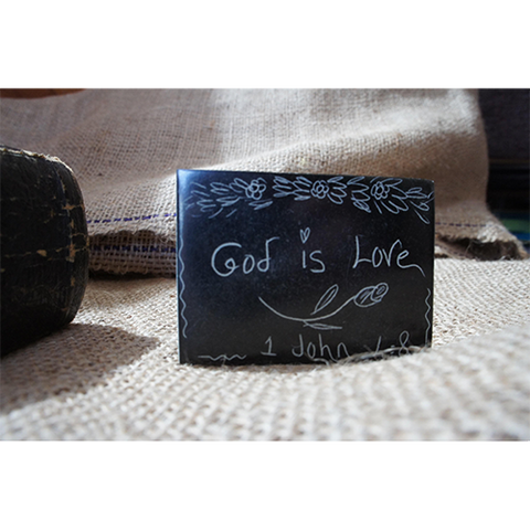 GOD IS LOVE- Carved Serpentine Stone Magnet