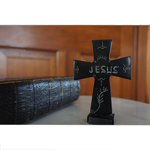 Table Top Hand Carved Serpentine Stone Cross