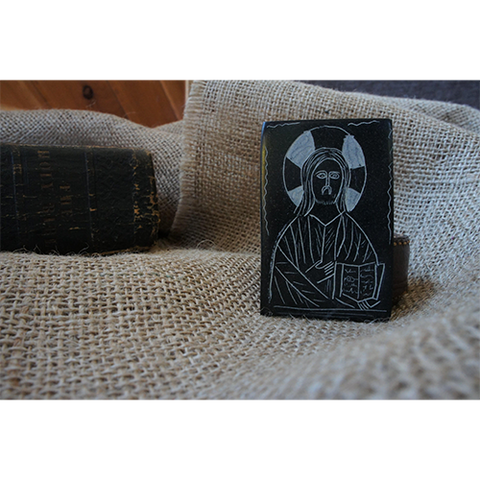 CHRIST PANTOCRATOR- Carved Serpentine Stone Magnet