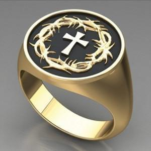 Crown of Thorns & Cross Ring (14K Gold - Special Order) - Logos Trading Post, Christian Gift