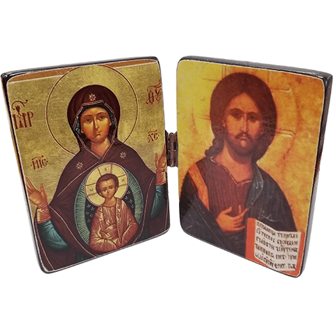 Holy Land Icon, Mother Mary and Christ Pantocrator diptych, Hand Carved Serpentine Stone