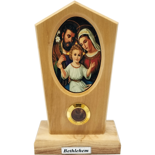 Holy Land Olive Wood Stand, Holy Family Icon