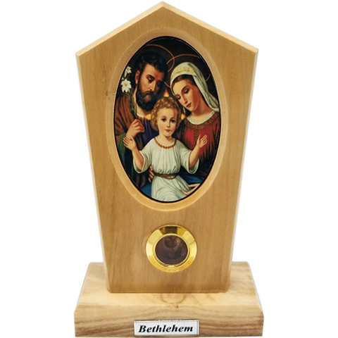 Holy Family Icon Olive Wood Stand