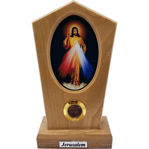 Jesus Divine Mercy Icon Olive Wood Stand