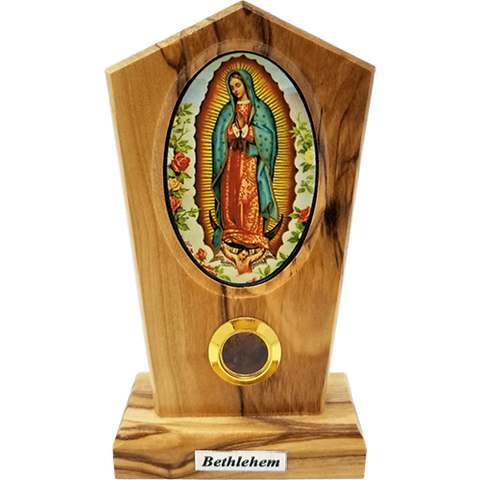 Our Lady of Guadeleupe Icon Olive Wood Stand