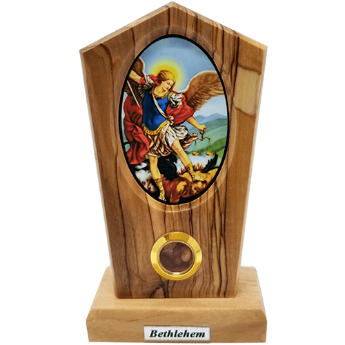 Saint Michael Icon Olive Wood Stand