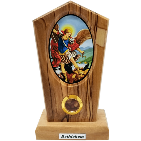 Holy Land Olive Wood Stand, Saint Michael Icon