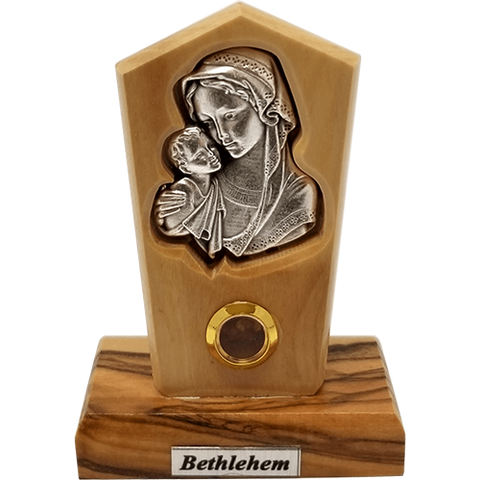 Virgin Mother Mary and Child Silver Plated Icon Olive Wood Stand - Small
