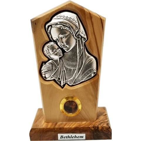 Virgin Mother Mary and Child Silver Plated Icon Olive Wood Stand - Medium