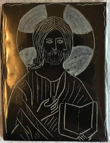 CHRIST PANTOCRATOR- Carved Serpentine Stone Magnet - Logos Trading Post, Christian Gift