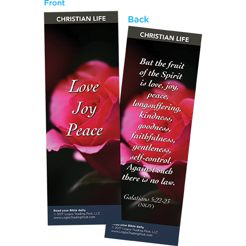 Love Joy Peace Bookmarks, Pack of 25