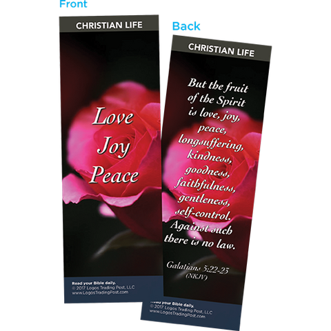 Love Joy Peace Bookmarks, Pack of 25 - Christian Bookmarks