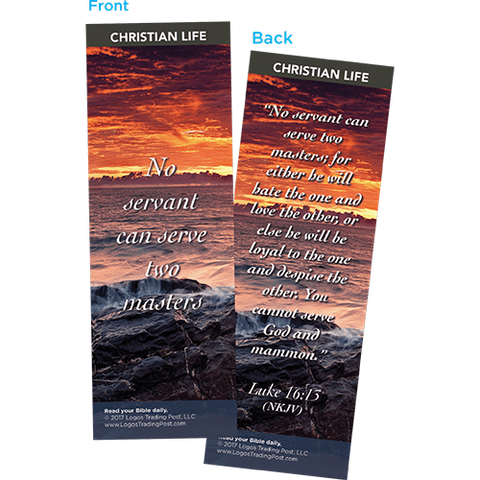 No Servant Can Serve Two Masters Bookmarks, Pack of 25 - Christian Bookmarks