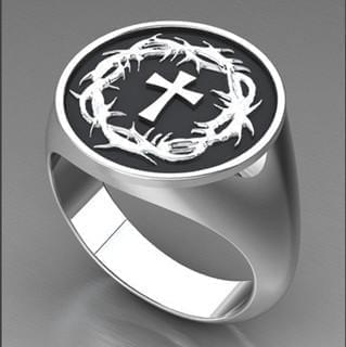 Crown of Thorns & Cross Ring (Sterling Silver) - Logos Trading Post, Christian Gift
