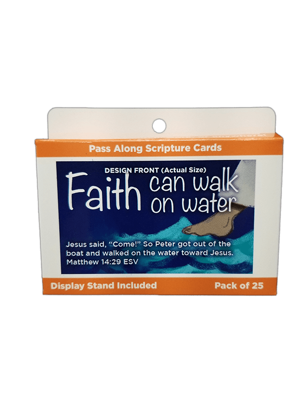 Children's Pass Along Scripture Cards - Faith Can Walk on Water, Pack of 25 - Logos Trading Post, Christian Gift