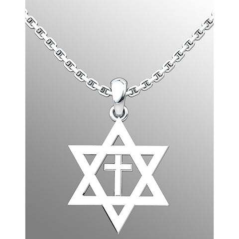 "Star of David Sterling Silver Necklace with Cross 18"" Sterling Silver Chain on a grey background"