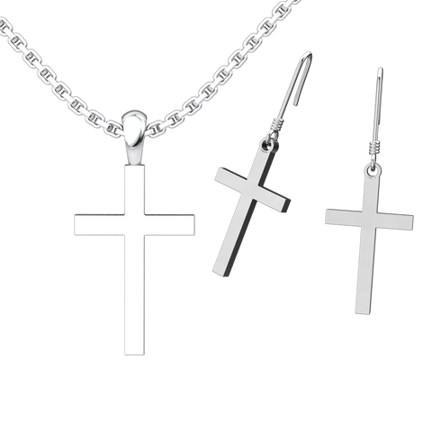 Simple Cross Set: Sterling Silver Pendant and Earrings - Logos Trading Post, Christian Gift