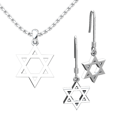 Star of David with Cross Set: Sterling Silver Pendant and Earrings