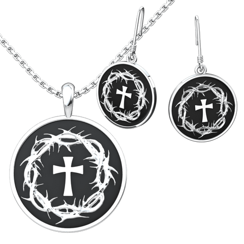 Crown of Thorns & Cross Set: Sterling Silver Pendant and Earrings - Logos Trading Post, Christian Gift