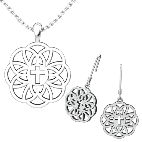 Flourish Cross Set: Sterling Silver Pendant and Earrings - Logos Trading Post, Christian Gift