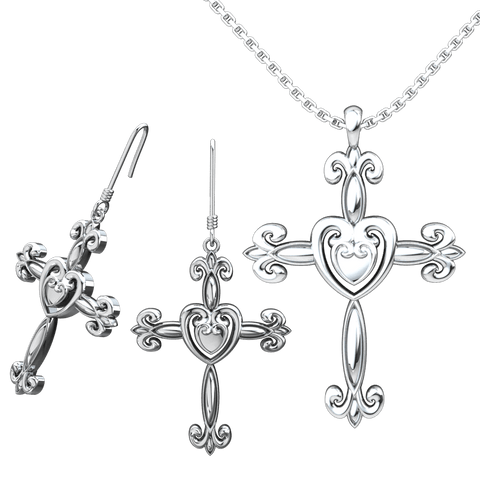 Heart Cross Set: Sterling Silver Pendant and Earrings - Logos Trading Post, Christian Gift