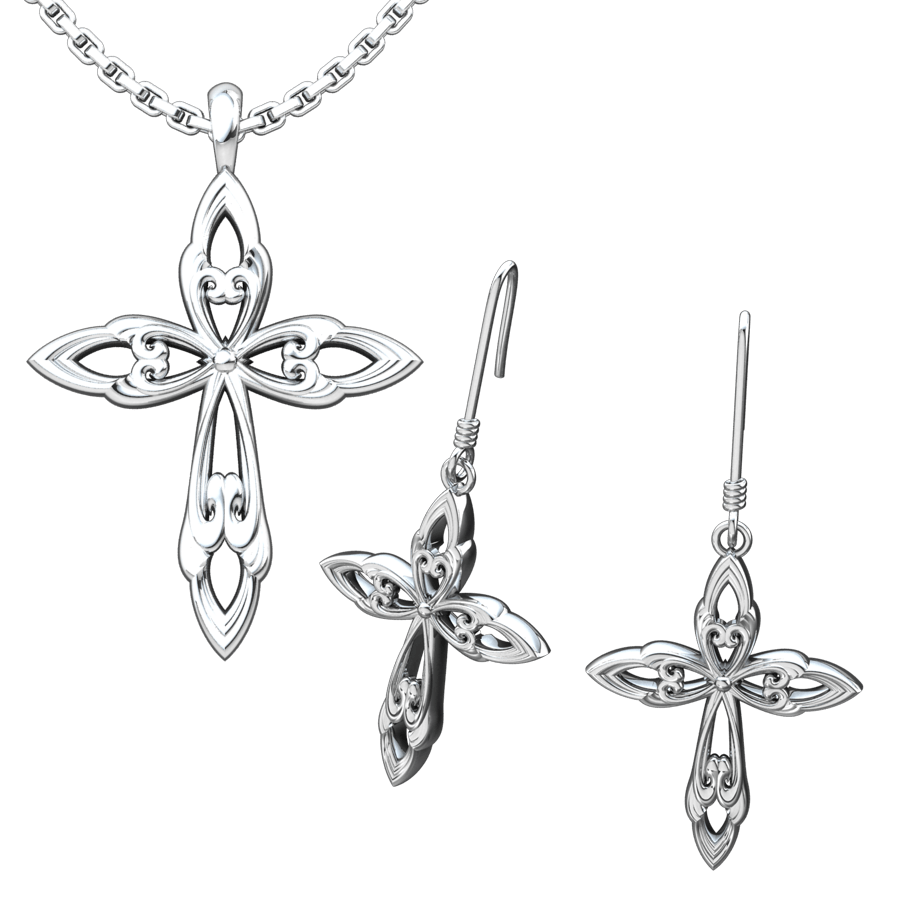 Leaf Cross Set: Sterling Silver Pendant and Earrings - Logos Trading Post, Christian Gift