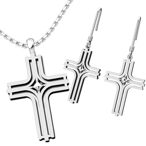 Radiant Cross Set: Sterling Silver Pendant and Earrings - Logos Trading Post, Christian Gift