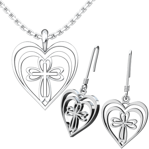 Radiant Heart with Cross Set: Sterling Silver Pendant and Earrings - Logos Trading Post, Christian Gift
