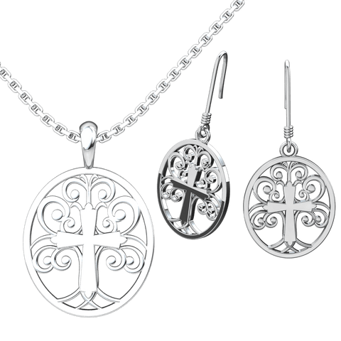 Tree of Life Set: Sterling Silver Pendant and Earrings - Logos Trading Post, Christian Gift