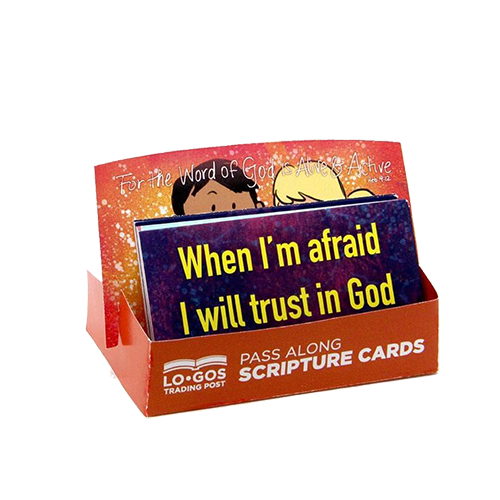 Children's Pass Along Scripture Cards - When I'm Afraid I Trust in God, Pack of 25 - With Stand