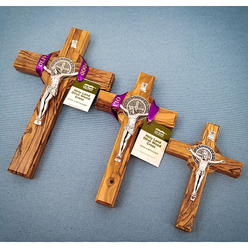 "8"" Cross - Saint Benedict Hanging Wall Cross - Holy Land Olive Wood-Extra Large"