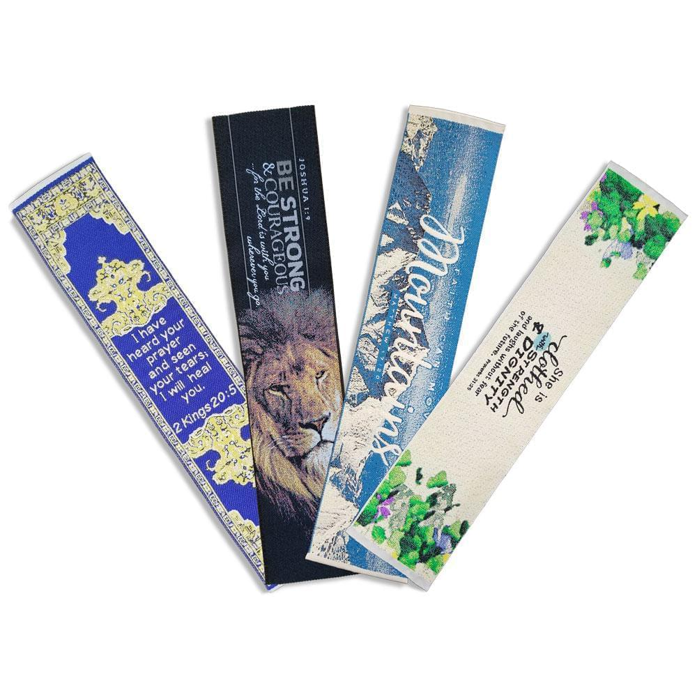 Fabric Bookmark Assortment #1 - 4 Woven Logos Bookmarks - Logos Trading Post, Christian Gift