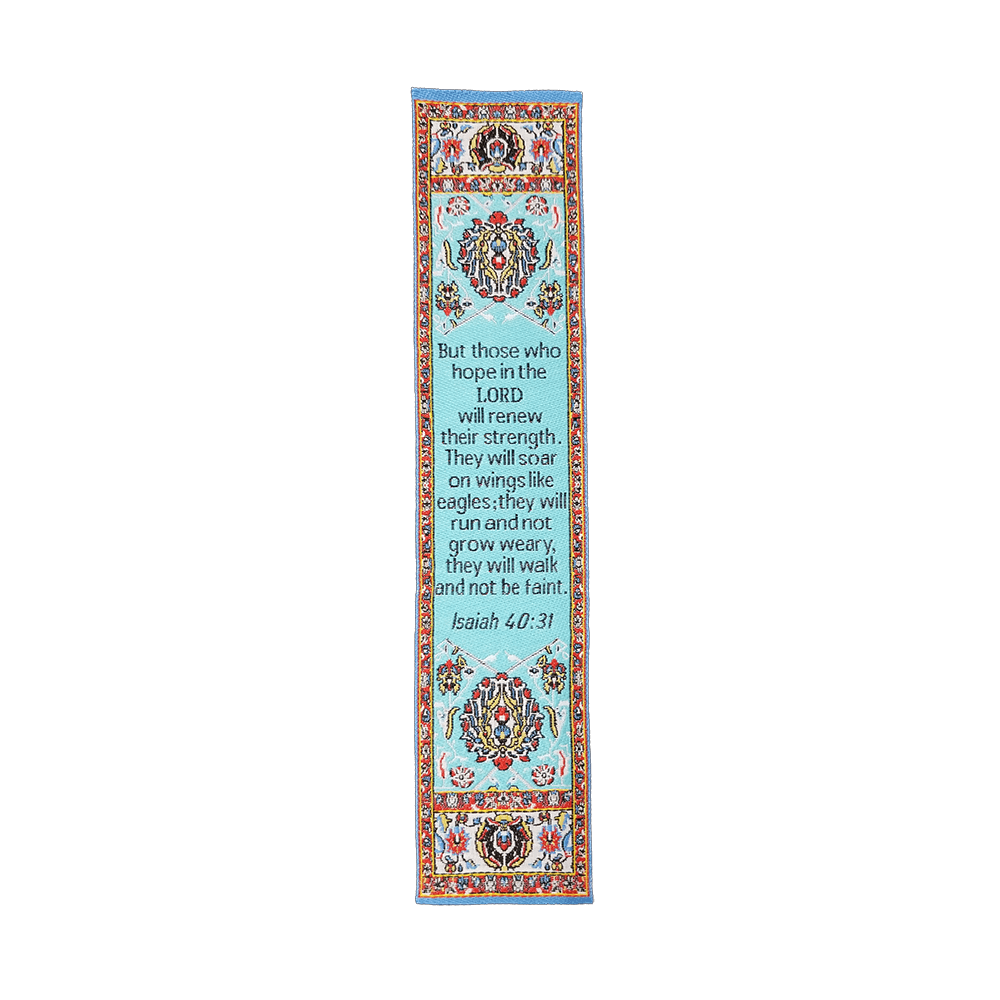 Fabric Bookmark Assortment #3 - 4 Woven Logos Bookmarks - Logos Trading Post, Christian Gift