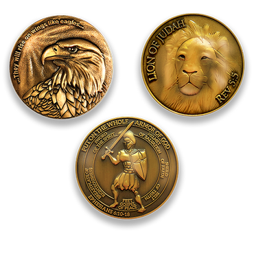 Antique Gold Plated Christian Challenge Coin - Value Variety Pack of 3 - Logos Trading Post, Christian Gift