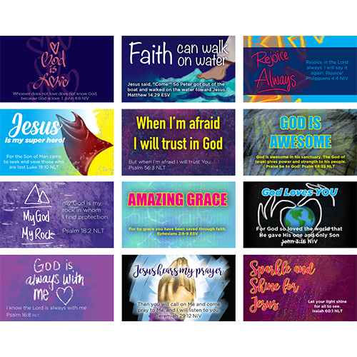 Children's Pass Along Pocket Scripture Card Variety Pack of 60 - Logos Trading Post, Christian Gift