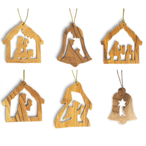 Holy Land Olive Wood Ornament - Value Pack of All 6