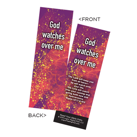 Children's Christian Bookmark, God Watches Over Me, Psalm 121:7-8 - Pack of 25 - Christian Bookmarks