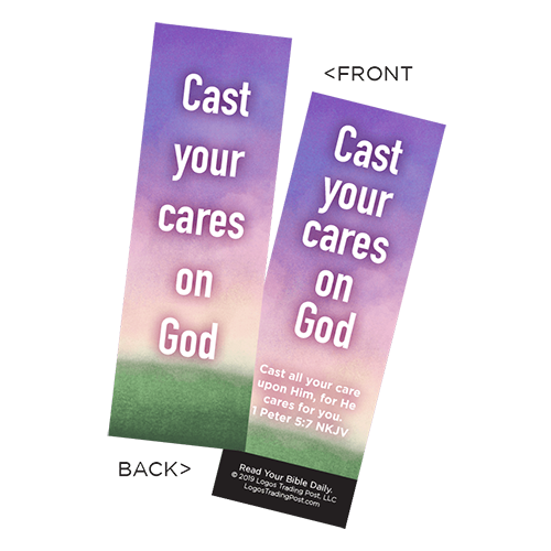 Children's Christian Bookmark, Cast Your Cares on God, 1 Peter 5:7 - Pack of 25